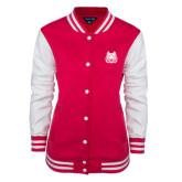 Ladies Pink Raspberry/White Fleece Letterman Jacket-Bengal Head