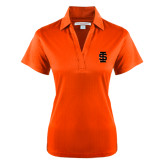 Ladies Orange Performance Fine Jacquard Polo-Interlocking IS