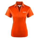Ladies Orange Performance Fine Jacquard Polo-University Mark