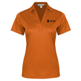 Ladies Orange Performance Fine Jacquard Polo-Institutional Mark