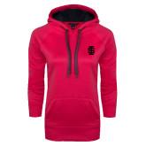 Ladies Pink Raspberry Tech Fleece Hoodie-Interlocking IS Tone