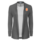 Ladies Heather Grey Open Front Cardigan-Interlocking IS - Two Color