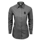 Ladies Grey Tonal Pattern Long Sleeve Shirt-Interlocking IS