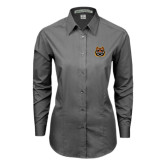 Ladies Grey Tonal Pattern Long Sleeve Shirt-Bengal Head