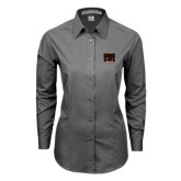Ladies Grey Tonal Pattern Long Sleeve Shirt-Idaho State Block