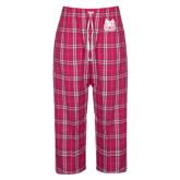 Ladies Dark Fuchsia/White Flannel Pajama Pant-Bengal Head