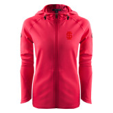Ladies Tech Fleece Full Zip Hot Pink Hooded Jacket-Interlocking IS Tone