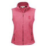 Ladies Fleece Full Zip Raspberry Vest-Interlocking IS Tone
