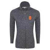 Grey Heather Ladies Fleece Jacket-Interlocking IS