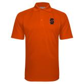 Orange Textured Saddle Shoulder Polo-Interlocking IS