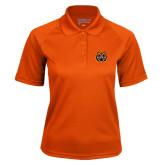 Ladies Orange Textured Saddle Shoulder Polo-Bengal Head