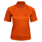 Ladies Orange Textured Saddle Shoulder Polo-Interlocking IS Tone