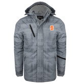 Grey Brushstroke Print Insulated Jacket-Interlocking IS - Two Color