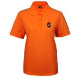 Ladies Easycare Orange Pique Polo-Interlocking IS