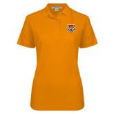 Ladies Easycare Orange Pique Polo-Primary Athletics Mark
