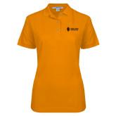 Ladies Easycare Orange Pique Polo-Institutional Mark