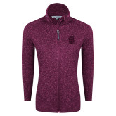 Dark Pink Heather Ladies Fleece Jacket-Interlocking IS Tone