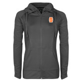 Ladies Sport Wick Stretch Full Zip Charcoal Jacket-Interlocking IS - Two Color