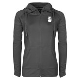 Ladies Sport Wick Stretch Full Zip Charcoal Jacket-Interlocking IS - One Color