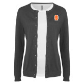 Ladies Charcoal Cardigan-Interlocking IS - Two Color