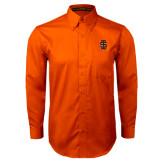 Orange Twill Button Down Long Sleeve-Interlocking IS