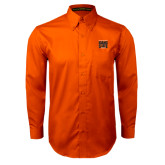 Orange Twill Button Down Long Sleeve-Idaho State Block