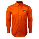 Orange Twill Button Down Long Sleeve-Idaho State Block