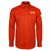 Orange Twill Button Down Long Sleeve-Idaho State University College Pharmacy