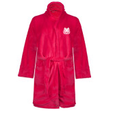 Ladies Pink Raspberry Plush Microfleece Shawl Collar Robe-Bengal Head