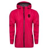 Ladies Dark Fuchsia Waterproof Jacket-Interlocking IS Tone
