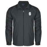 Full Zip Charcoal Wind Jacket-Interlocking IS - One Color