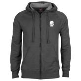 Charcoal Fleece Full Zip Hoodie-Interlocking IS - One Color
