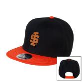 Black/Orange Twill Flat Bill Snapback Hat-Interlocking IS