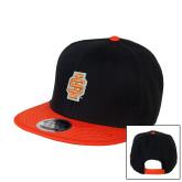 Black/Orange Twill Flat Bill Snapback Hat-Interlocking IS - 2 Color
