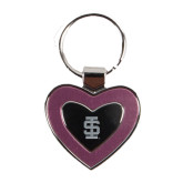 Silver/Pink Heart Key Holder-Interlocking IS Engraved