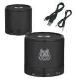 Wireless HD Bluetooth Black Round Speaker-Bengal Head Engraved
