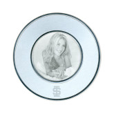 Silver Two Tone Small Round Photo Frame-Interlocking IS Engraved