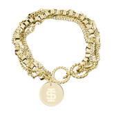 Olivia Sorelle Gold Round Pendant Multi strand Bracelet-Interlocking IS Engraved