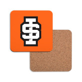 Hardboard Coaster w/Cork Backing-Interlocking IS - 2 Color