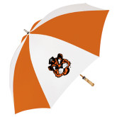 62 Inch Orange/White Umbrella-Vintage Mascot Head