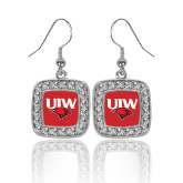 Crystal Studded Square Pendant Silver Dangle Earrings-UIW Cardinal Head Stacked