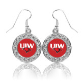Crystal Studded Round Pendant Silver Dangle Earrings-UIW Cardinal Head Stacked