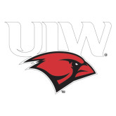 Extra Large Decal-UIW Cardinal Head Stacked, 18 inches tall