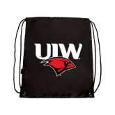 Black Drawstring Backpack-UIW Cardinal Head Stacked