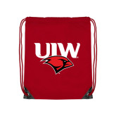 Red Drawstring Backpack-UIW Cardinal Head Stacked