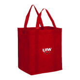 Non Woven Red Grocery Tote-UIW Cardinal Head Stacked