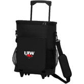 30 Can Black Rolling Cooler Bag-UIW Cardinal Head Stacked