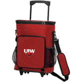 30 Can Red Rolling Cooler Bag-UIW Cardinal Head Stacked