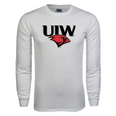 White Long Sleeve T Shirt-UIW Cardinal Head Stacked