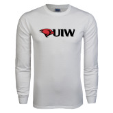 White Long Sleeve T Shirt-Cardinal Head UIW
